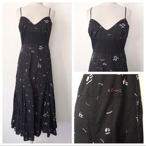 70s Retro Boho Midi Strappy Black Dress Sz L